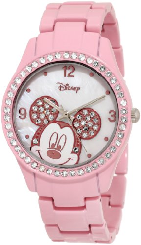 Disney Women's MK2125 Mickey Mouse Rhinestone Accent Spray Pink Bracelet Watch