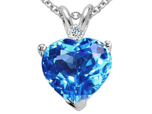 Blue Topaz Heart and Diamond Pendant
