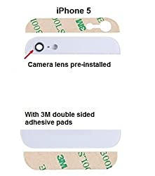 Iphone 5 5G Back cover Glass rear housing - Top and bottom White with camera and Flash lens preinstalled and 3M adhesive pads MMOBIEL