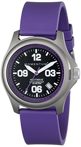 Momentum 1M-SP17P1P - Reloj analógico para mujer de caucho Resistente al agua negro