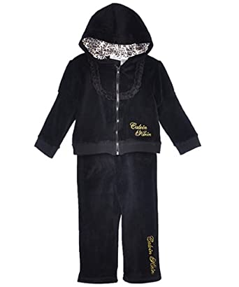 Calvin Klein Infant Girls Black Velour 2Pc Sweat Pant Set (12M)