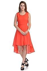 Wintage Women Boat Neck Sleeveless Orange Solid High Low Maxi Dress