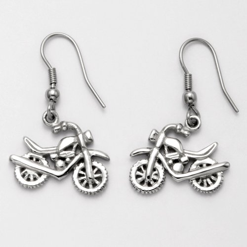 Stainless Steel Double Sided Motorcycle Earrings with French Earwire Hooks