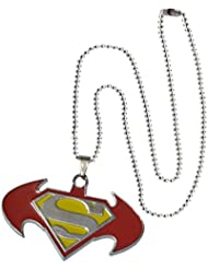 Men Style New Arrival Batman And Superman Inspired SPn08016 Red And Yellow Stainless Steel 00 Pendent For Men...