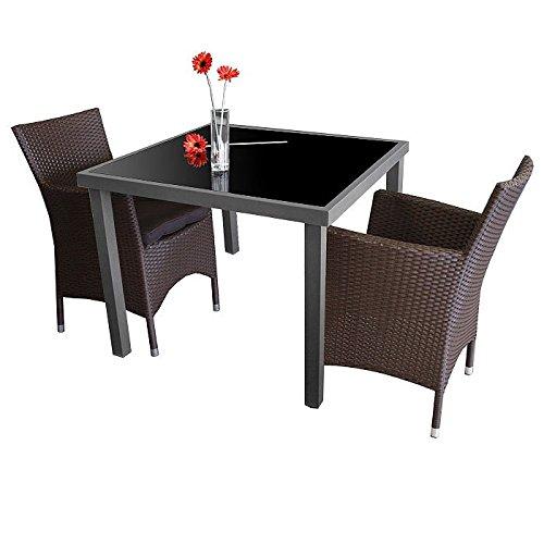 Garnitur Glastisch 90x90cm + 2x Sessel mit Sitzkissen Braun - 3tlg. - Gartenmöbel Terrassenmöbel Balkonmöbel Bistroset Sitzgarnitur Sitzgruppe