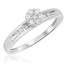 buy 1/6 Carat T.W. Round Cut Diamond Ladies Engagement Ring 10K White Gold- Size 8.5