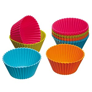 Set of 12 Coloured Silicone Cupcake / Muffin Cases 2.8
