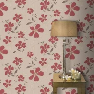 Superfresco Easy Rapture Wallpaper - Red and Beig by New A-Brend