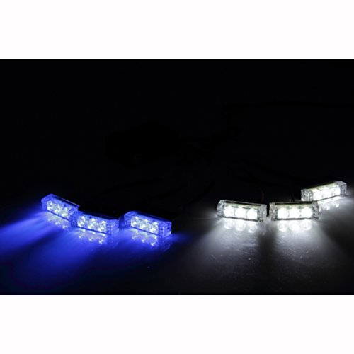 Koolertron 18 Led Emergency Vehicle Strobe Lights For Front Grille/Deck ,Blue & White