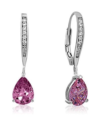 Genevive Jewelry Pink CZ Pear-Shape Dangling Earrings