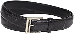 Stacy Adams Men's 32mm Ostrich Leg Embossed Genuine Leather Belt, Black, 40