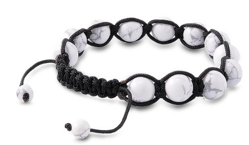 Tibetan Knotted Bracelet - White Turquoise w/ Black String - Bead Size: 10mm, Adjustable Length
