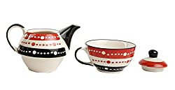 Caffeine Ceramic Handmade 2 in 1 Teapot with Cup - Dotted Orange