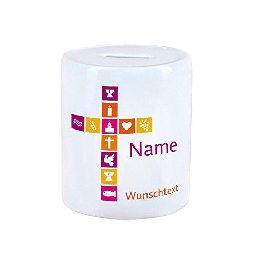 geschenke-online Spardose für Taufe / Kommunion / Taufe mit Namen und Wunschtext für Mädchen