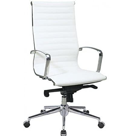 Chair of Direction High Back in eco-leather sdi1040001 Tapizado en símil piel blanco