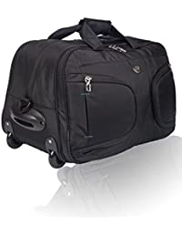 Cosmic 51 Litre Stylish Wheel Travel Duffle Trolley Bag - Luggage Strolley Travelling Bag - Black + Indigo Blue