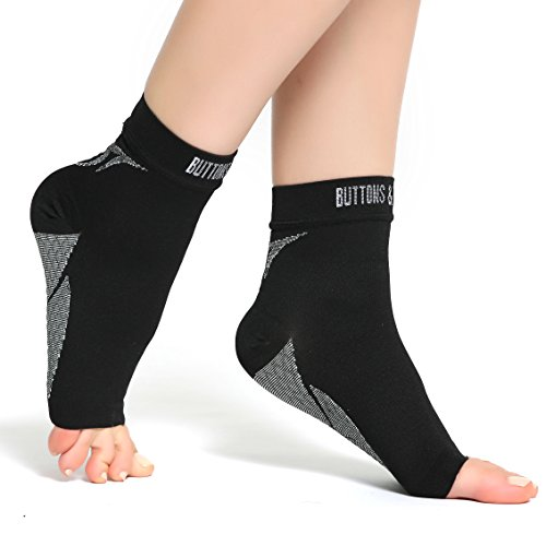 Buttons & Pleats Foot Compression Sleeves – Toeless Socks for Heel Arch & Ankle Braces Support – Relieves Pain of Plantar Fasciitis Medium Black