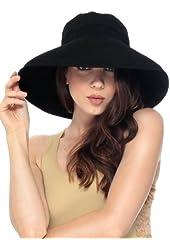 Simplicity Women's Cotton Summer Beach Hat with Wide Fold-Up Brim