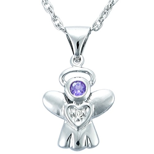 Children's Sterling Silver Amethyst and Diamond Accent Angel Pendant Necklace