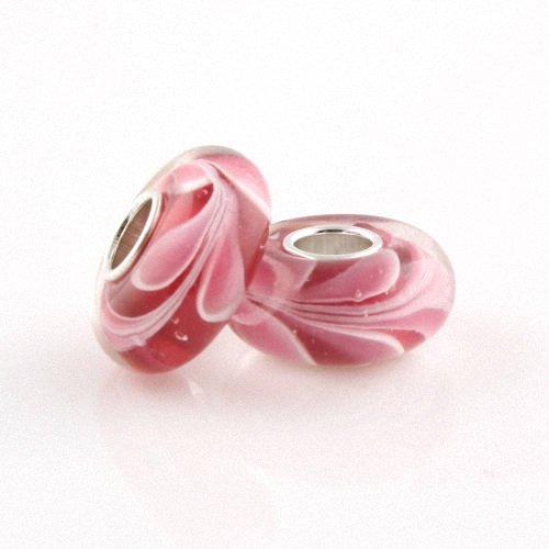 Taotaohas-(1Pc) Small Lampwork Murano Glass Charm Beads, [ Name: Big Swirly Swirl, Color: Red Pink ], Pure 100% Solid Sterling 925 Silver Core, Fit European Bracelets Necklaces Chains, Troll, Biagi