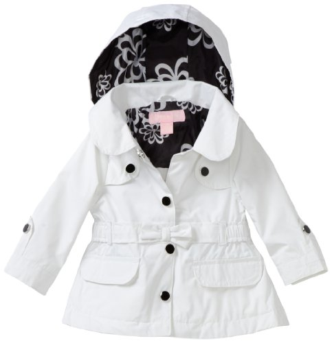 London Fog Baby-girls Infant Belted Trench Coat, White, 18 Months