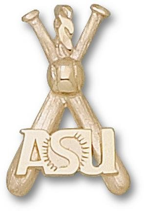 Arizona State Sun Devils ASU Baseball Bats Pendant - 14KT Gold Jewelry by Logo Art