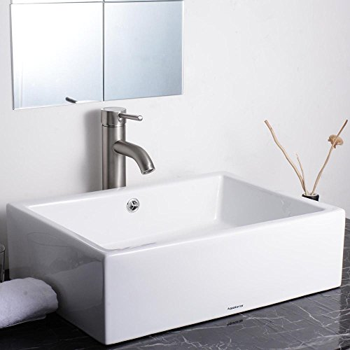 Purchase Aquaterior 20-2/7x14-1/4x6 Rectangle White Porcelain Ceramic Bathroom Sink w/ Free Chrom...