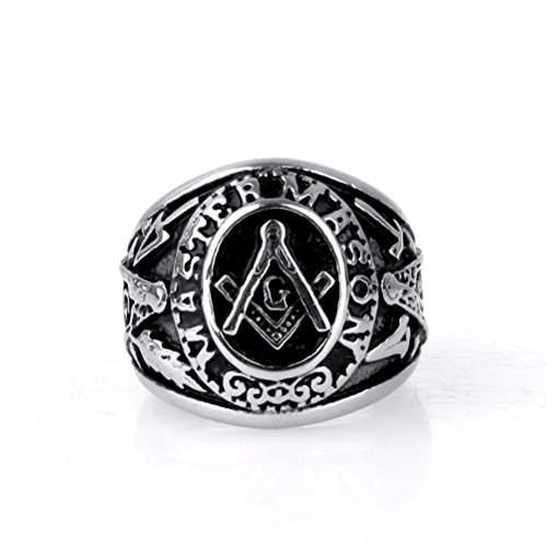 OAKKY Jewelry Mens Stainless Steel Domineering Vintage Freemason Masonic Rings, Black and Silver by OAKKY