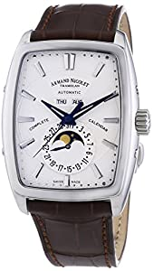 Armand Nicolet Men's Automatic Watch with Silver Dial Analogue Display and Brown Leather Strap 9632A-AG-P968MR3