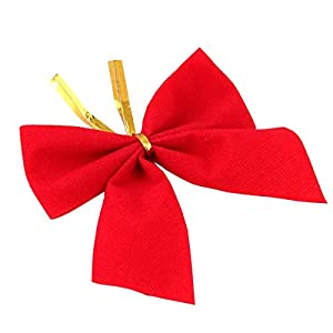 LEORX A Set of 12pcs Sweet Velvet Bows Bowknot Christmas Tree Hanging Decorations Xmax Tree Ornaments (Red)