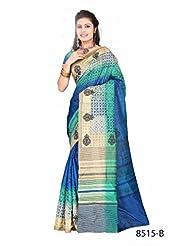 Awesome Blue Bhagalpuri Printed Art Silk Designer Saree