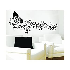 WallStickersUSA Wall Sticker Decal, Butterfly and Tribal Flowers, Large by WallStickersUSA