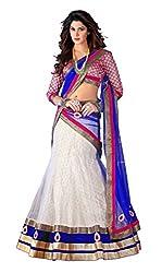 7 Colors Lifestyle White Coloured Net Embroidered Semi-Stitched Lehenga Choli