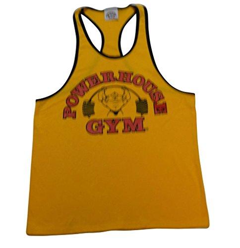 Powerhouse Gym Ringer Tank Top-Gold/Black-M
