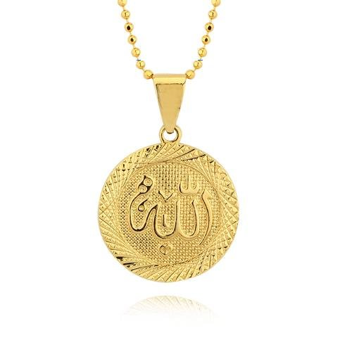 18K Gold Plated Allah Pendant Necklace Women's