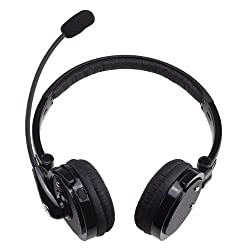 IMAGE® 2 in 1 Over the Head Boom Mic Microphone Stereo Bluetooth Headset Wireless Handsfree Headphone Nosie Canceling (Black)