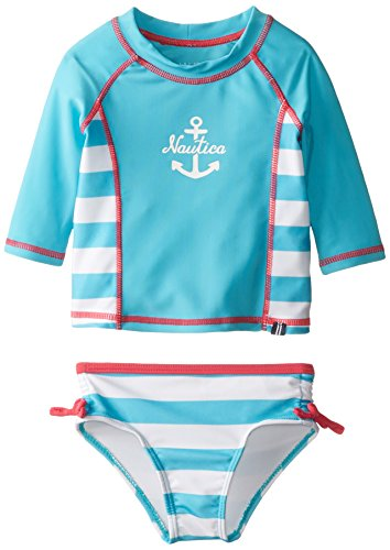Nautica baby girls infant anchor logo rash guard swim set for Baby rash guard shirt