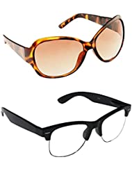 New Stylish UV Protected Combo Pack Of Sunglasses For Women / Girl ( BrownButterfly-ClearHFWayfarer ) ( CM-SUN...