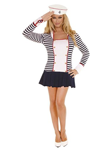 Elegant Moments Womens Sailor Navy Captain Outfit Fancy Dress Sexy Costume