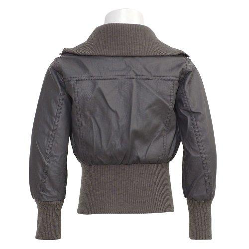 Yoki New York Charcoal Vegan Leather Zipper Bomber Jacket Girls 5-6