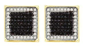Pricegems 10K Yellow Gold Mens Black and White Natural Round Brilliant Diamond Post and Screw Back Micro Pave Set Square Stud Earrings (Black and White Natural Diamonds: 1/3 cttw, I1/I2 Clarity)
