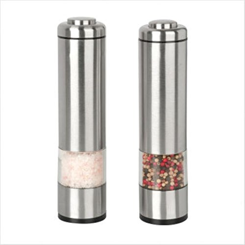 Kalorik Battery-Operated Salt-and-Pepper Grinder Set, Brushed Stainless Steel