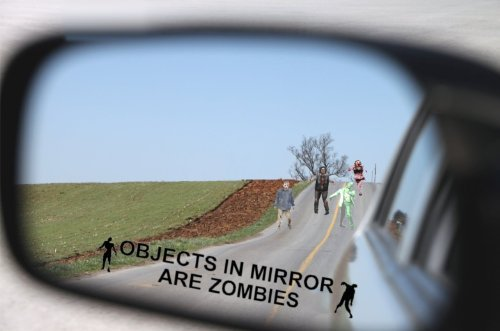 Objects in Mirror Are Zombies Decal - Bio Hazard Scary Outbreak Response BLACK Etched Glass Vinyl Funny Sticker (Come With Zombie Hunter Permit Decal) StickerCiti Brand