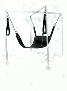 Extreme Wow Sex ~ Unisex Black Leather Sling Love Swing ~ Thigh Straps Strict Robust Adult Fantasy Fetish Sex ~ US Product