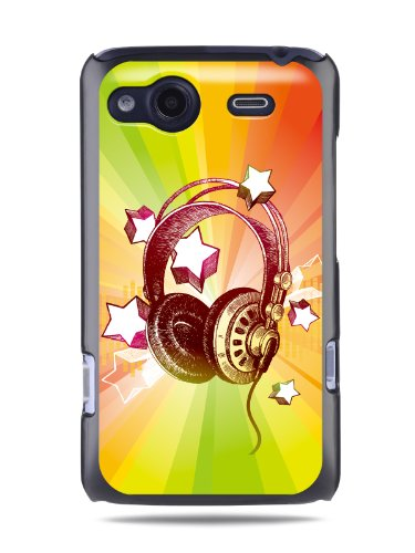 "Grüv Premium Case - ""Colorful Music Dj Headphones & Stars"" Design - Best Quality Designer Print On Black Hard Cover - For Htc G15 Salsa"