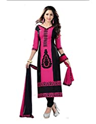 PShopee Pink & Black Jacquard Cotton Embroidery Unstitched Dress Material