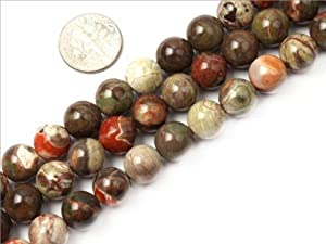 10mm Round Gemstone flower agate beads strand 15