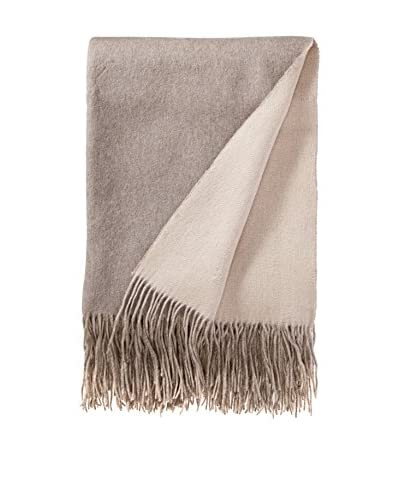 a & R Cashmere Wool & Cashmere Reversible Throw, Creme Fraiche/Sand
