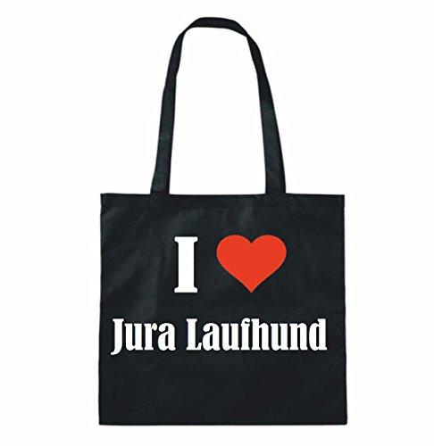 """Tasche""""I Love Jura Laufhund""""Größe""""38x42""""Farbe""""Schwarz""""Druck""""Weiss"""