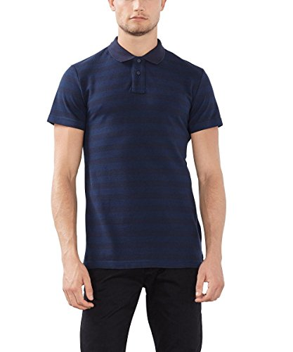 ESPRIT Gestreift-Slim Fit, Polo Uomo, Blu (Navy), X-Small